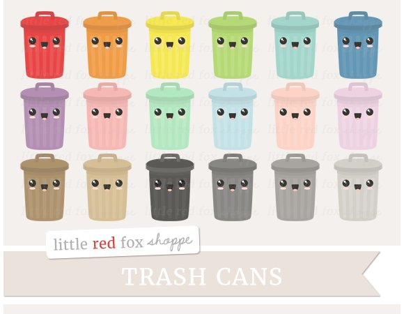Kawaii Trash Can Clipart ~ Illustrations on Creative Market