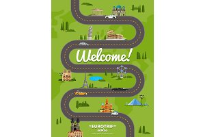 Welcome to Europe poster with famous attractions