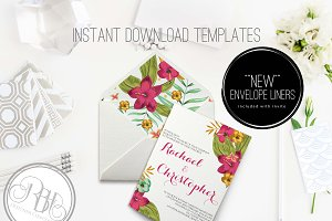Tropical Invite & Envelope Liner