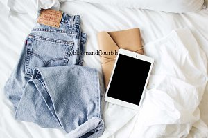 Lifestyle Ipad Denim Styled Stock im