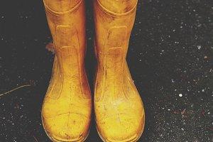 Yellow garden boots.