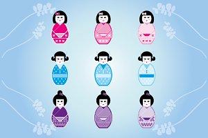 Set of Japanese Dolls