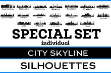 City Skyline Silhouettes Ind Set