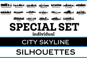 City Skyline Silhouettes Ind Set