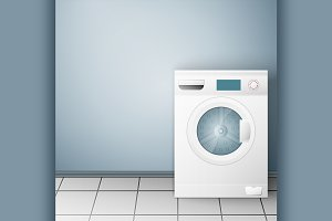 Wash machine on light background