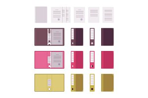 Set of papers, files and folders