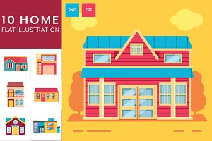 10 Home Flat Illustrations