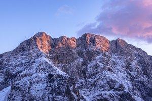 Purple Sunset on the Mountain Peak