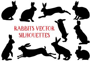 Rabbit vector silhouettes set