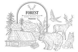 Forest Themed Vintage Sketch