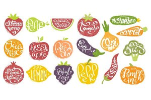 Names OF Fruits In Fruit Shaped Frame Set