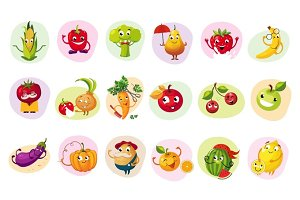 Funny Fruit Caracters Set