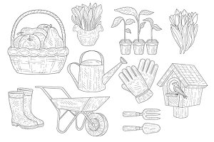 Gardening Vintage Sketch