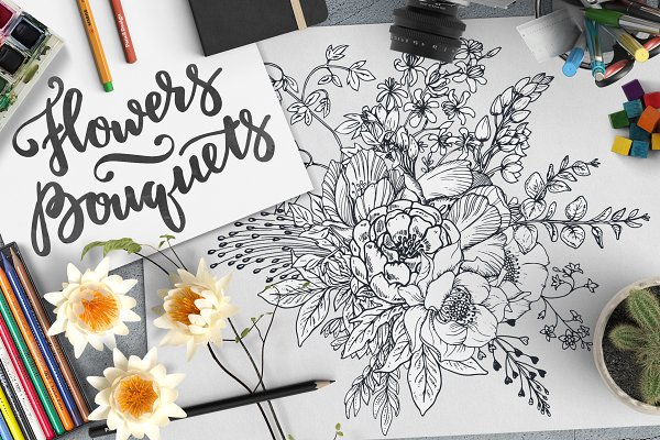 Hand drawn flowers and bouquets