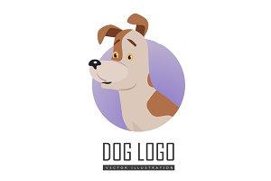 Dog Vector Logo in Flat Style Design