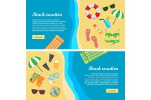 Beach Vacation Flat Design Vector Web Banners