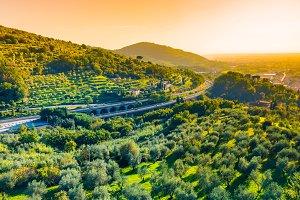Italian motorway, Tuscany.