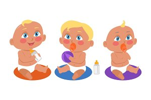 Set of Babies Playing in Flat Style.