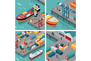 Cargo Port Illustrations in Isometric Projection