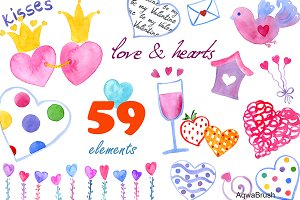 Love & hearts Watercolor clipart