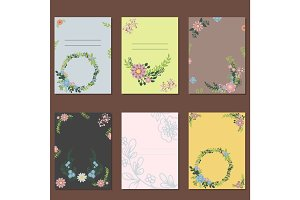 Floral wreath card decoration vector.