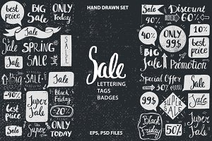 Sale Lettering, Tags and Badges