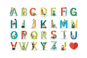 English Alphabet with Humans Use Modern Technology