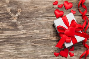 Gift box with red fabric hearts