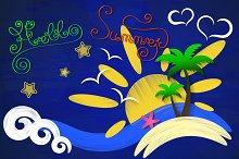 Hi summer sun sea palm trees