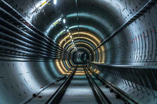 Industrial Stock Photos - Underground facility with a big tunnel