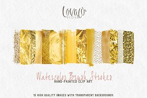 Rich Gold brush strokes clipart