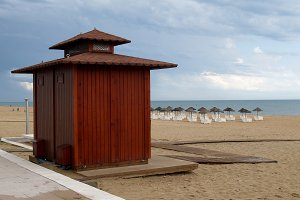 Wooden hut on empty beach
