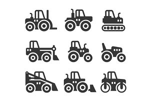 Tractors and Building Machines Icons