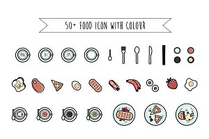 Colour Food Icon Set