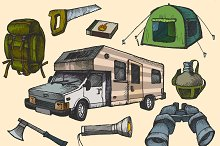 Hand Drawn Camping Elements