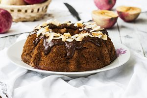 homemade apple cake with chocolate