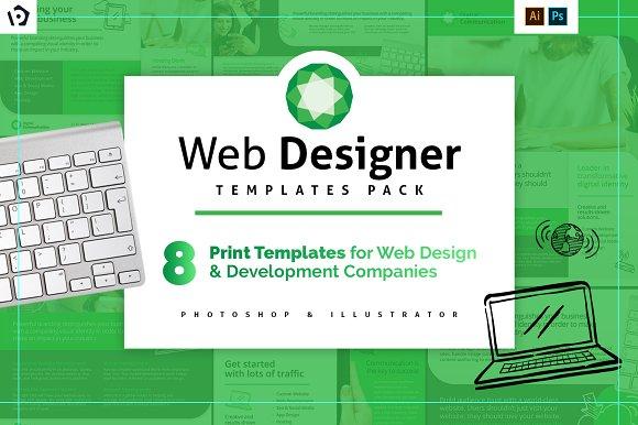 Web Designer Templates Pack Flyer Templates Creative Market - Web development company templates