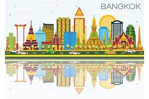 Bangkok Skyline with Color Landmarks