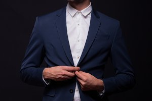 buttoning jacket suit elegant man