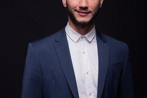 man smile elegant suit jacket shirt