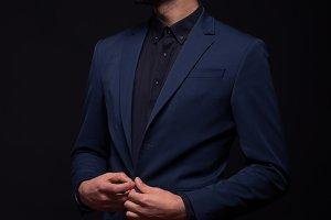 model posing elegant suit