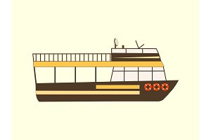 Color retro travel boat