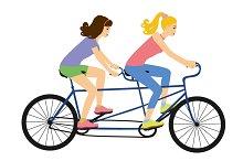 Girls on a tandem bike vector