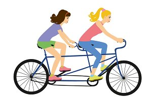Girls on a tandem bike vector