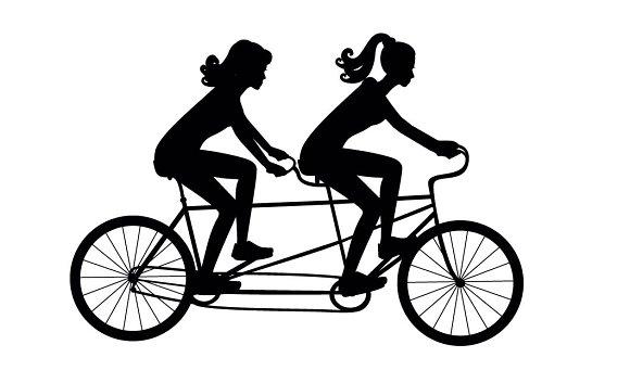 Girls On A Tandem Bike Vector Illustrations Creative Market