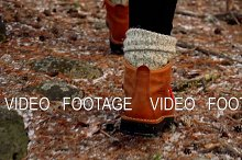 winter boots in the forest
