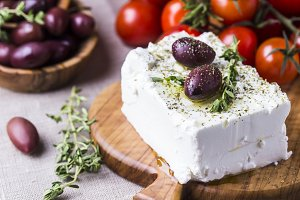 Greek cheese feta with thyme and olives