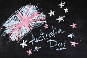 Australia Day Background, National Celebration Card, Grunge Background, Chalk