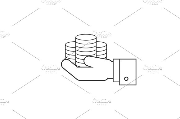 Coins on hands line icon