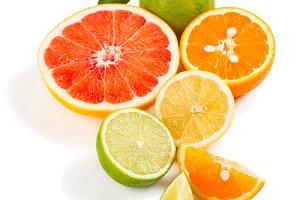 Organic citrus fruits.